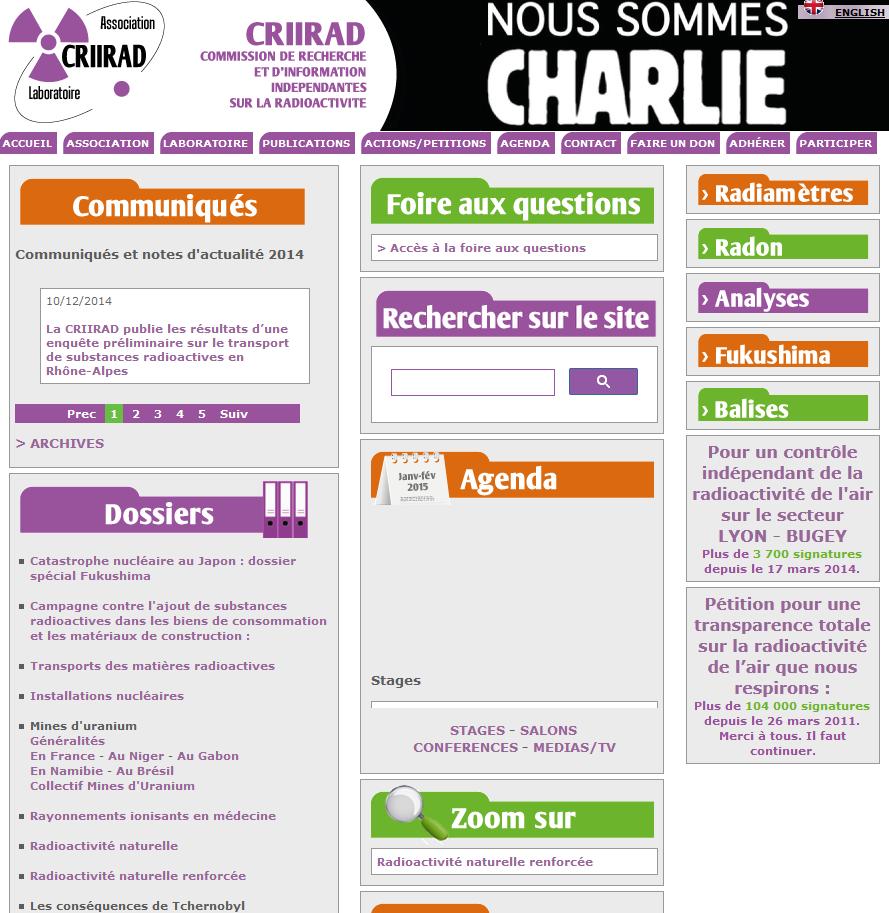 Site internet de la CRIRAD sur la radiactivité