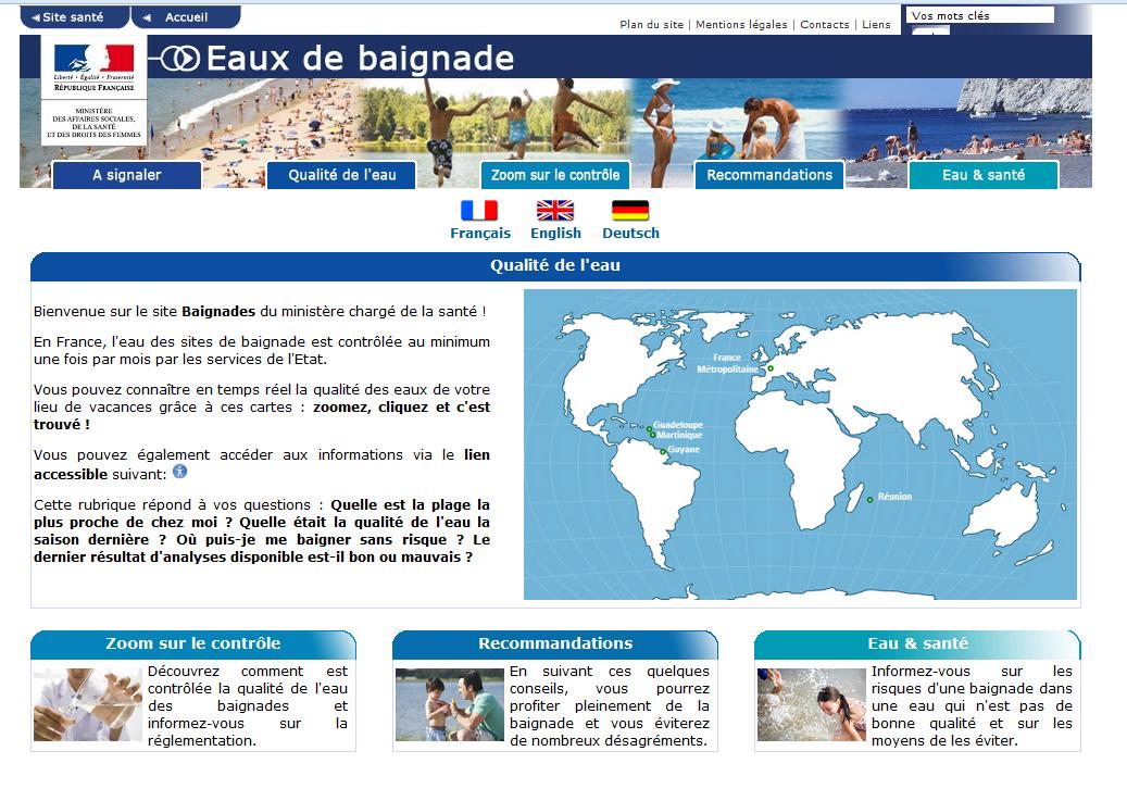 Site internet du Ministère des Affaires Sociales, de La Santé et des Droits des Femmes pour la qualité des eaux de baignade