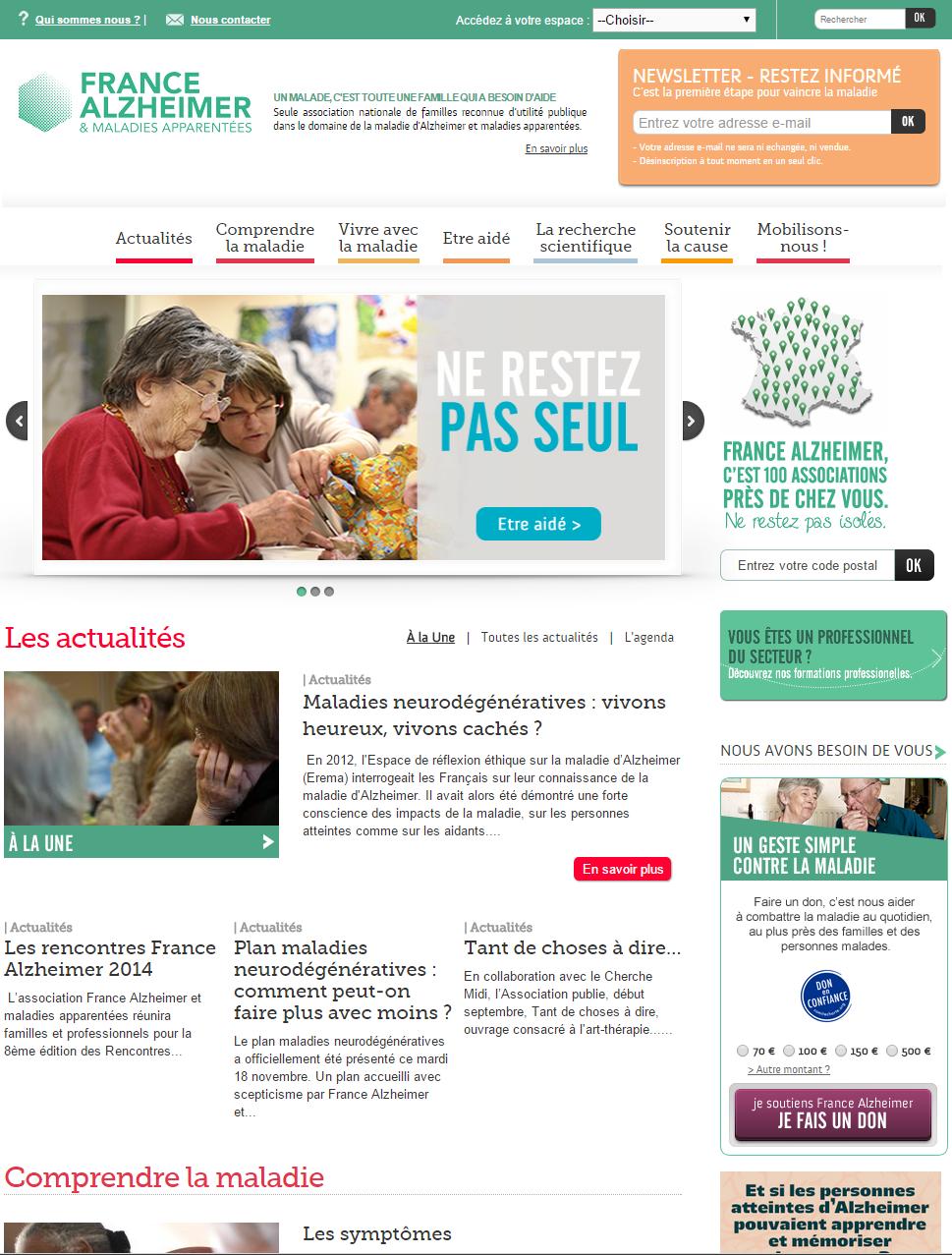 Le site web de l'Association France Alzheimer est destiné aux personnes atteintes de la maladie d'Alzheimer, à leurs familles et à toutes les personnes se posant des questions sur cette maladie.