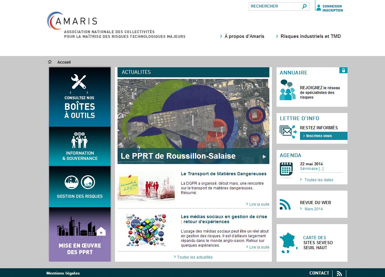 Site AMARIS qui a pour objectif d'aider à gérer les risques et développer une culture de la sécurité sur les collectivités locales et EPCI exposés aux risques majeurs