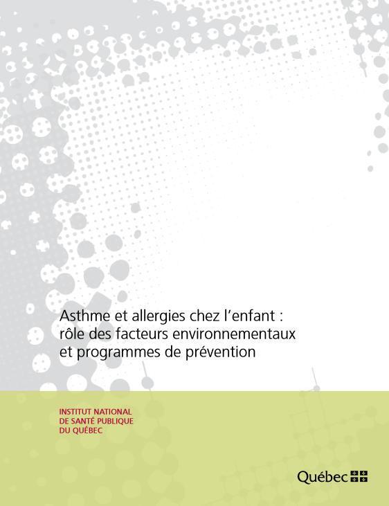 Cet ouvrage propose un état des connaissances scientifiques sur le rôle es facteurs environnementaux dans l'apparition de l'asthme et de l'allergie chez le jeune enfant (Air intérieur, Allergie, Asthme, Maladie respiratoire, Pollution atmosphérique)
