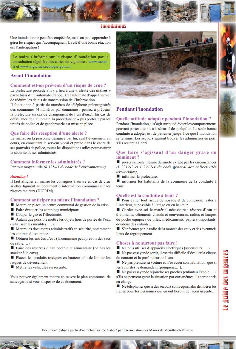 fiche de l'Association des maires de Côte d'Or sur comment le maire doit réagir suite à un e inondation (risque naturel)
