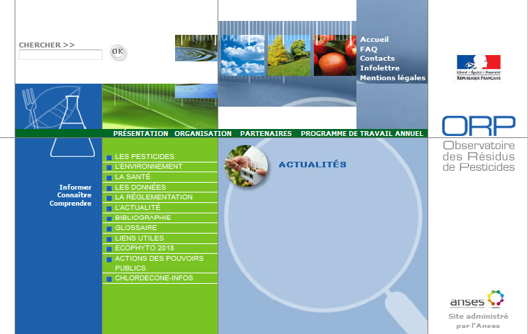 Base de données des normes réglementaires publiques concernant les résidus de pesticides, des résultats des actions de contrôles et du suivi des actions de progrès