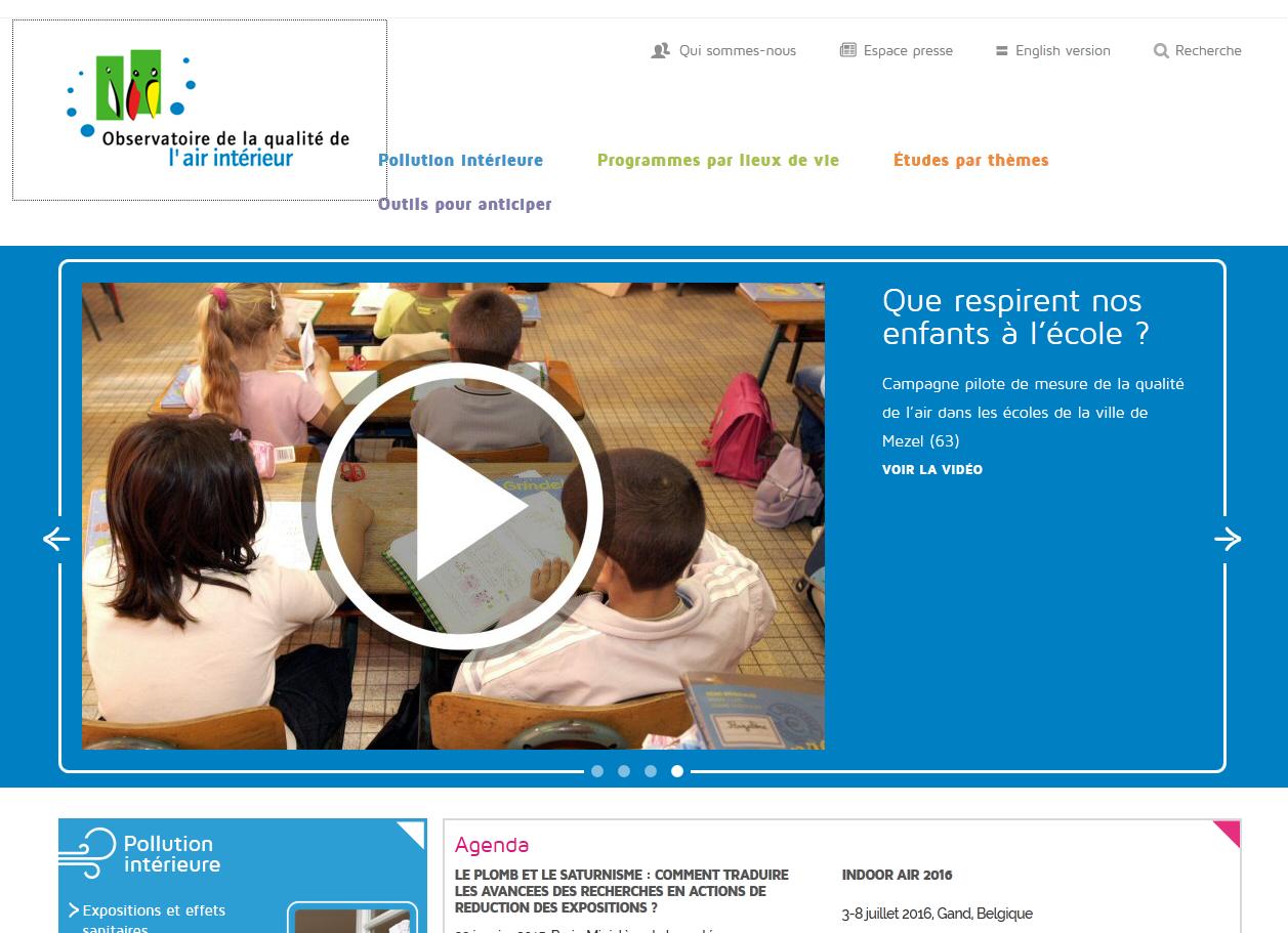Site internet de l'Observatoire de la qualité de l'air intérieur