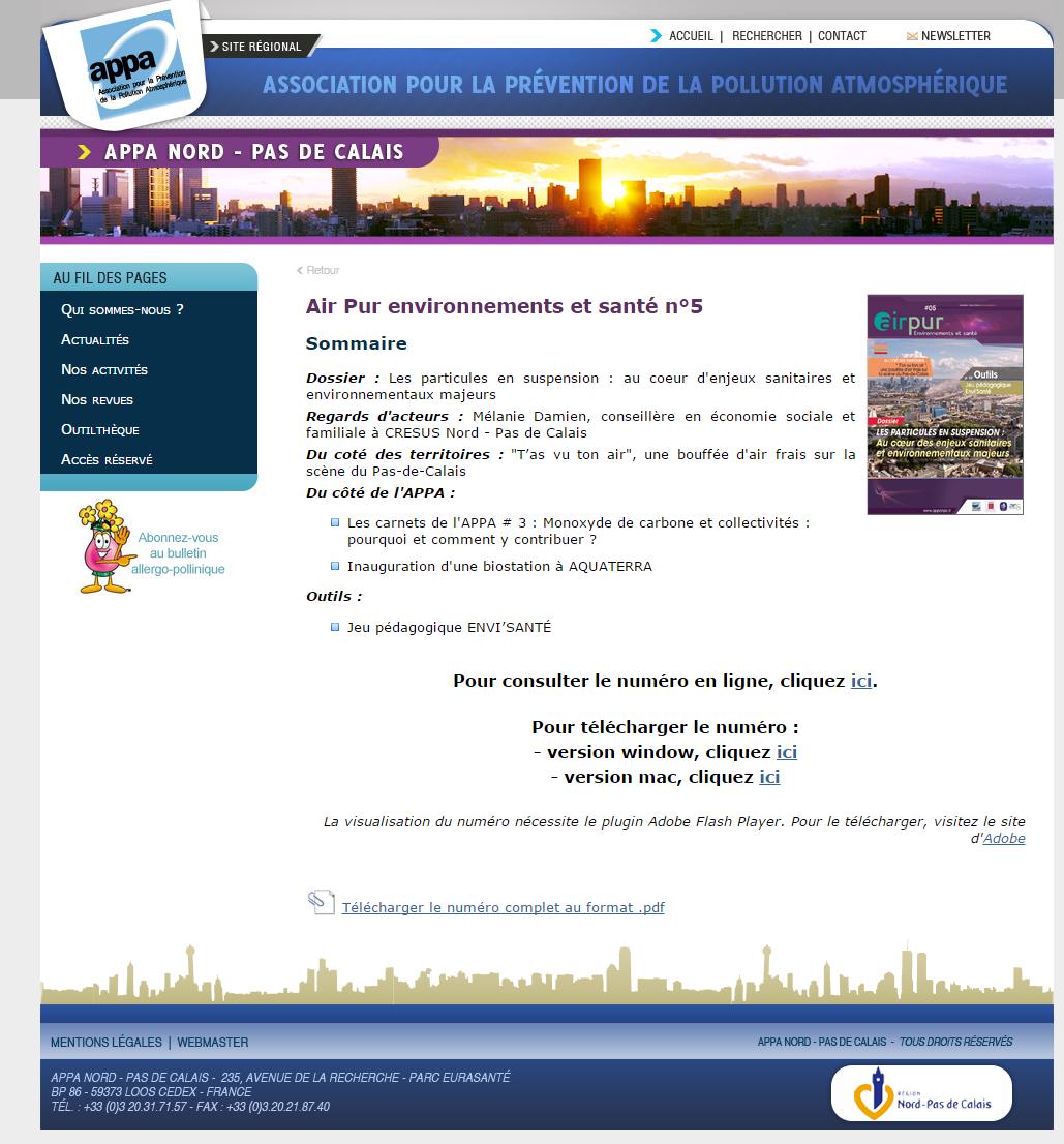Dossier sur les particules en suspension dans le magazine Air Pur environnements et santé n°5