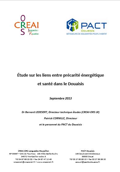 Etude sur les liens entre précarité énergétique et santé dans le Douaisis