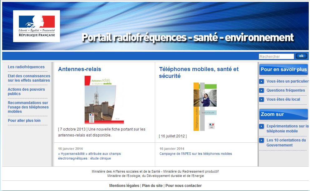 Radiofréquences, ondes électromagnétiques, effets sur la santé, actions des pouvoirs publics, téléphonies mobiles
