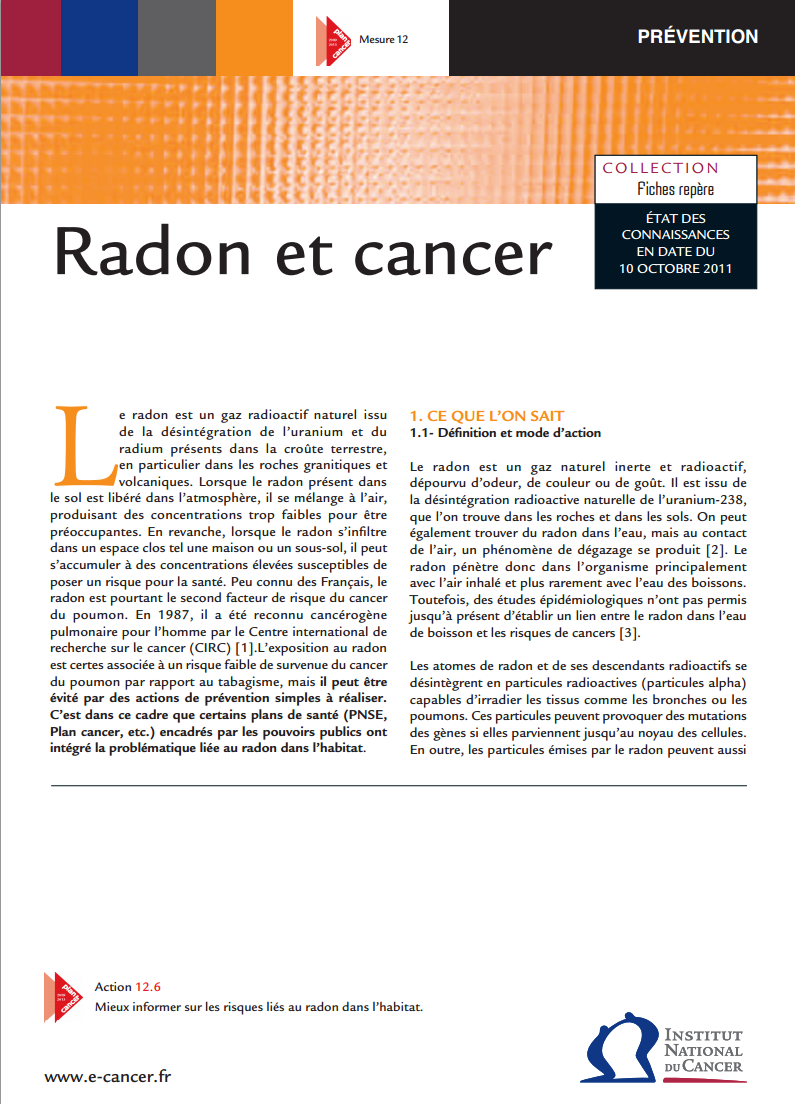Air intérieur, radon, cancer