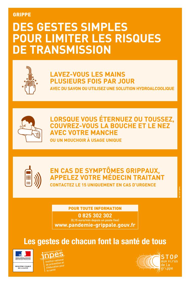 Affiche sur les gestes de prévention pour limiter les risques de transmission de la grippe (hygiène, maladie infectieuse)