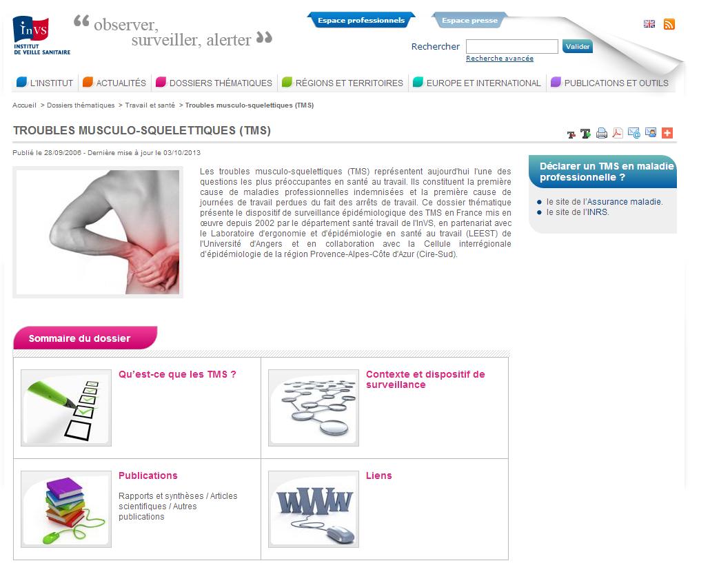 Santé au travail, TMS (Trouble musculo-squelettique)