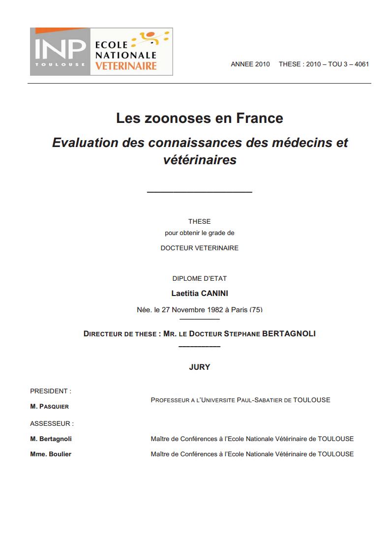 Généralités sur les zoonoses en France